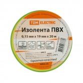 Изолента TDM ПВХ 0,15х19мм Желто-Зеленая 20метров
